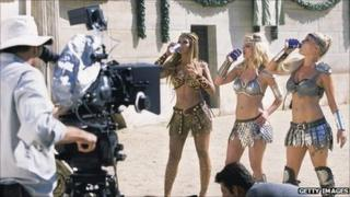 Beyonce, Britney Spears and Pink drink Pepsi on set for an advertising commercial