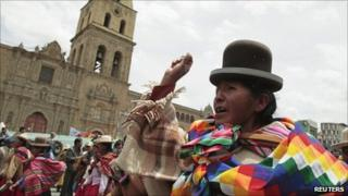 Evo Morales supporters take to the streets on 12 October