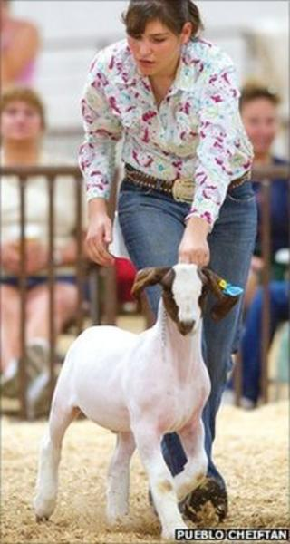 Margaret Weinroth with Theodore the goat