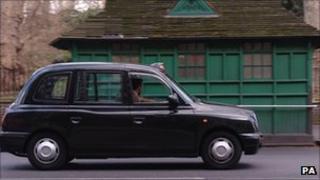 Taxi on street