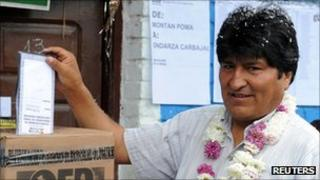 Evo Morales casting his vote