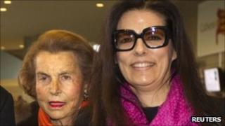 Liliane Bettencourt with her daughter Francoise in March 2011