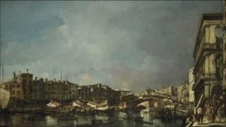 Venice, a View of the Rialto Bridge, Looking North, from the Fondamenta del Carbon by Francesco Guardi