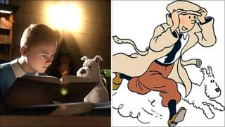 A still from Tintin and the Secret of the Unicorn (l) and a Herge drawing (copyright Herge-Moulinsart 2010
