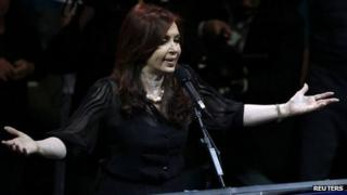 Argentina's current president and presidential candidate Cristina Fernandez de Kirchner speaks at a campaign rally in Buenos Aires.