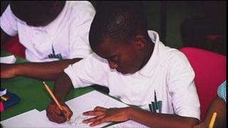 Boys working in class