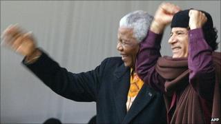 Nelson Mandela and Muammar Gaddafi (archive shot)