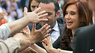 Argentine President Cristina Fernandez on the campaign trail
