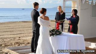 Bournemouth Tourism staged wedding for launch of beach hut 'chapel'
