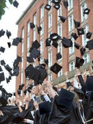 Graduates throwing mortar boards