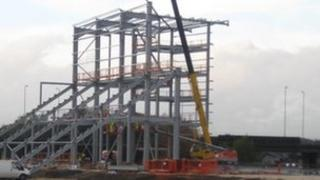 The first piece of framework of the new stadium
