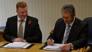 Airport contract signed by Public Services Minister Bernard Flouquet (right) and Lagan's managing director Colin Loughran
