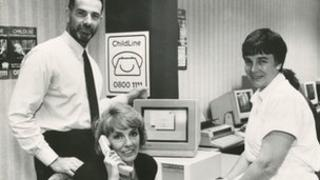 Esther Rantzen and others at the start of ChildLine in 1986