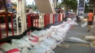 Sandbags in Bangkok. Photo by Andrew Batt