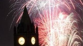 Halloween fireworks over Derry's Guildhall