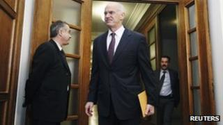 George Papandreou arrives for cabinet meeting 1 November 2011