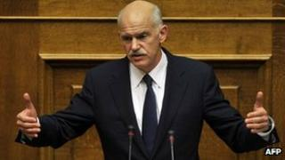 Greek Prime Minister George Papandreou addresses parliament in Athens - 3 November 2011