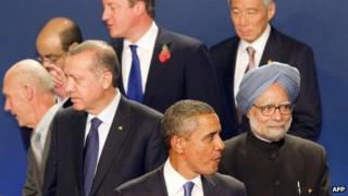 US President Barack Obama (centre) with other world leaders at G320 in Cannes, France, on 3 November 2011