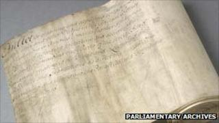 Stamp Act. Copyright: Parliamentary Archives, London, HL/PO/PU/1/1765/5G3n11