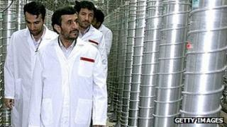 Iranian President Mahmoud Ahmadinejad at Natanz uranium enrichment facilities in 2008