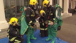 Fire crews prepare for a mock chemical-attack exercise