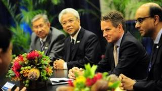 US Treasury Timothy Geithner with Singapore Finance Minister Tharman Shanmugaratnam and others