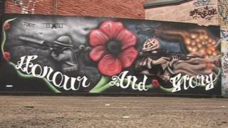 The tribute created by street artist Andrew Nurse