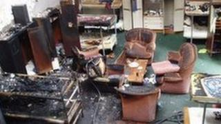 The aftermath of an electrical fire