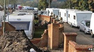 Caravans parked up on the illegal side of the Dale Farm travellers site (Chris Radburn / PA Wire)