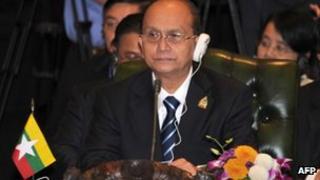 Burmese leader Thein Sein at the Asean summit on 17 November 2011