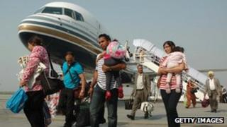 Comtel Air passengers arriving at Raja Sansi International Airport in Amritsar shortly after the route starts