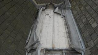 Church roof where lead has been stolen