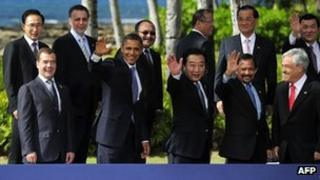 President Barack Obama with fellow leaders at the Apec summit in Honolulu on 14 November 2011