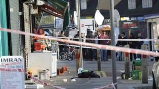 Police cordon around the scene of stabbing in Kingsbury