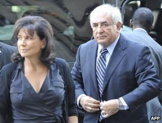 Dominique Strauss-Kahn and his wife Anne Sinclair in New York, 23 August