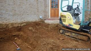 A skeleton found close to the entrance to the property in Ratley. Photo: Archaeology Warwickshire