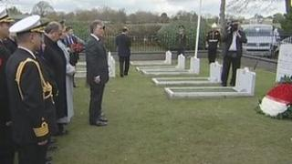 President Abdullah Gul at the naval cemetery at Haslar Hospital, Gosport