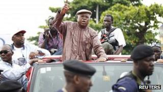 Opposition leader Etienne Tshisekedi in his car at the airport, Kinshasa