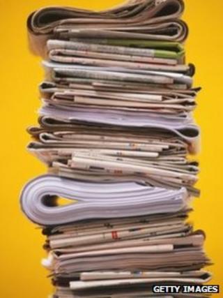 pile newspapers