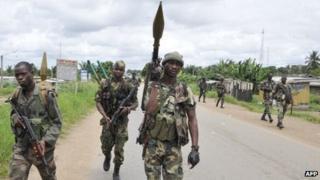 Forces loyal to President Alassane Ouattara in Abidjan in April