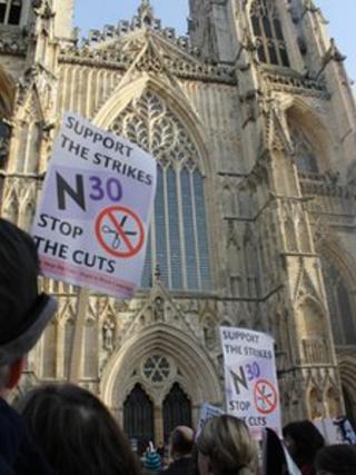 Pension strikers outside York Minster