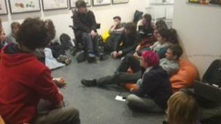 Protesters at the University of Brighton