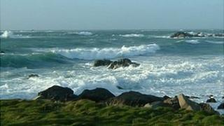 Waves off the coast of Guernsey