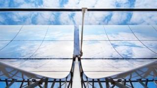 Archive photo of parabolic trough solar panels; Credit: DLR / Markus-Steur.de