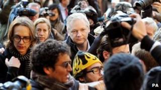 Julian Assange at the High Court on 5 December