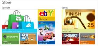 Windows Store front page