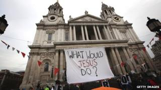 WWJD banner at the Occupy London Stock Exchange protest