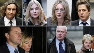 (Clockwise from top left) Steve Coogan, Sienna Miller, JK Rowling, Hugh Grant, Bob and Sally Dowler, and Gerry and Kate McCann.