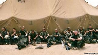 US Marines in Kuwait desert before heading into Iraq