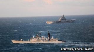 HMS York and Admiral Kuznetsov. Pic: Reuters/Royal Navy/MoD